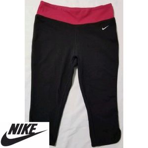 Nike | Dri-Fit Black Pink Crop Athletic Pants